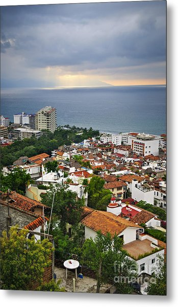Puerto Vallarta And Pacific Ocean Metal Print
