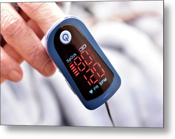 Pulse Oximeter Metal Print by Dr P. Marazzi/science Photo Library