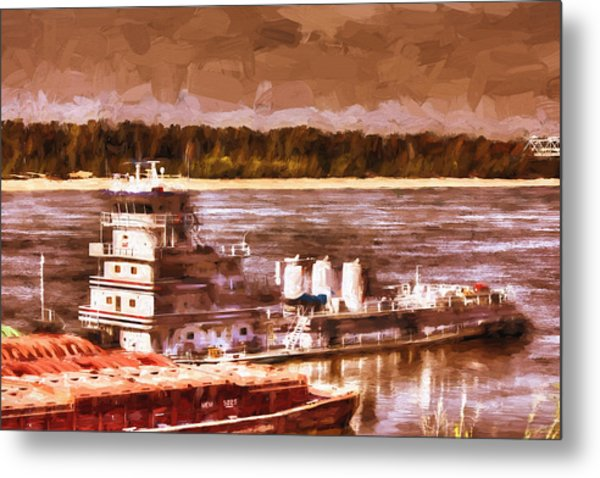 Riverboat - Mississippi River - Push That Barge Metal Print