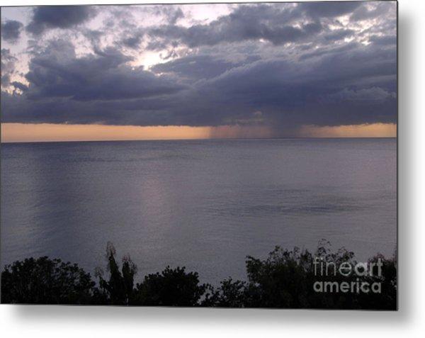 Rain On The Ocean Metal Print