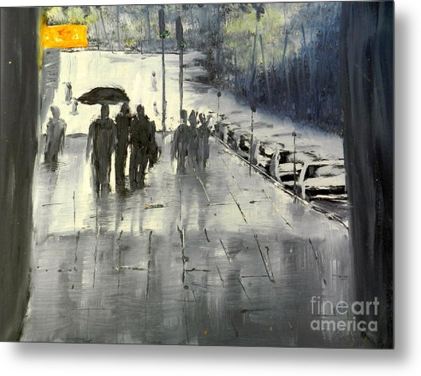 Rainy City Street Metal Print