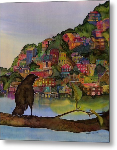 Raven And The Village  Metal Print