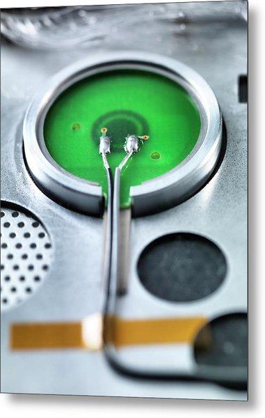 Rear Of A Power Button Metal Print by Tek Image