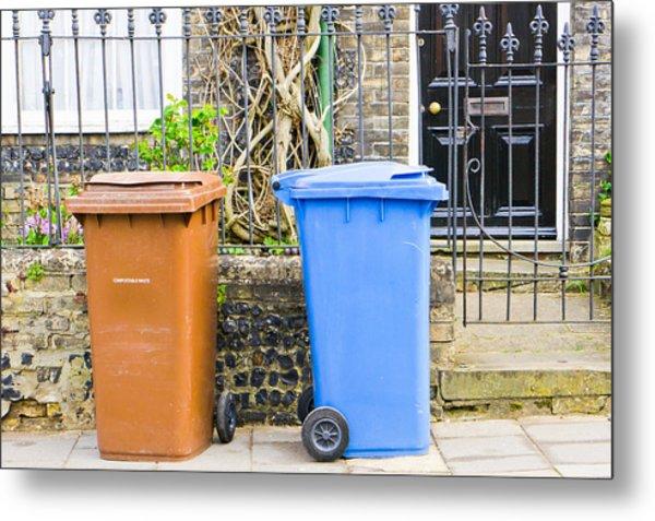 Recycling Bins Metal Print
