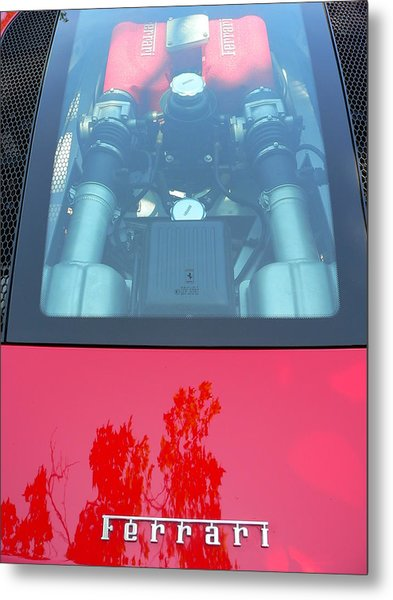 Metal Print featuring the photograph Red Ferrari Engine Window by Jeff Lowe