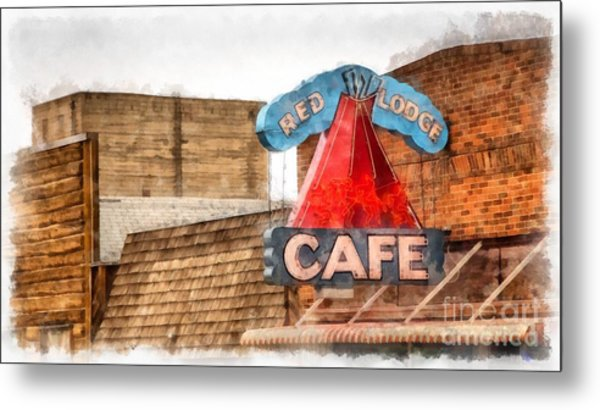 Red Lodge Cafe Old Neon Sign Metal Print