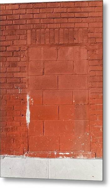 Red Wall With Immured Door Metal Print