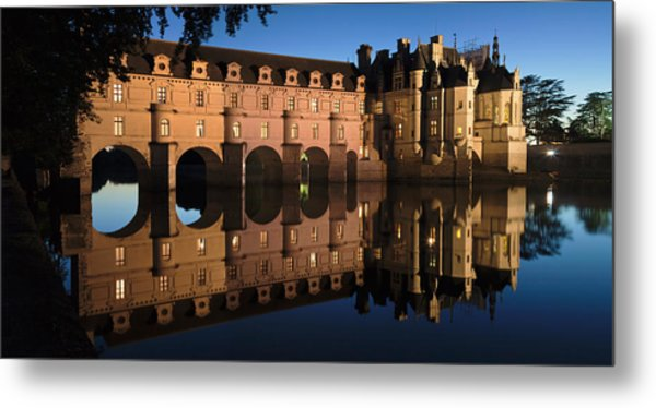 Reflection Of A Castle In A River Metal Print