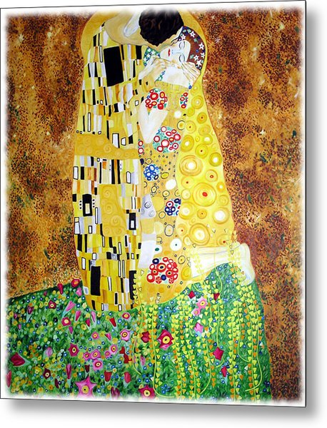 Reproduction Of - The Kiss By Gustav Klimt Metal Print