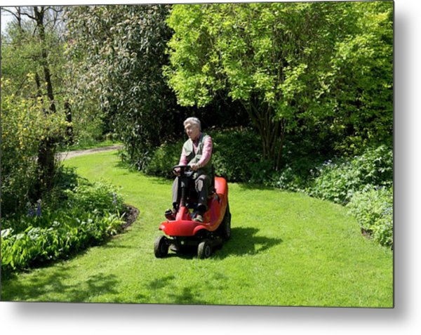 Ride-on Lawn Mower Metal Print by Sheila Terry