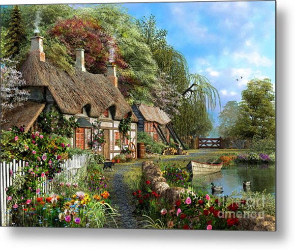 Riverside Home In Bloom Metal Print