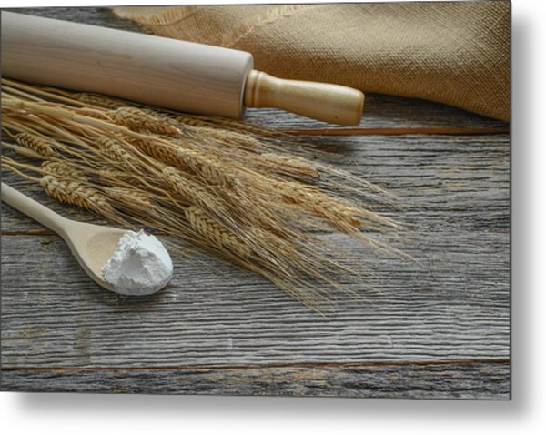 Rolling Pin With Wheat And Spoon With Flour Metal Print