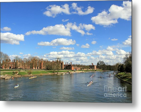 Rowing On The Thames At Hampton Court Metal Print
