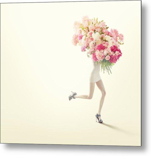 Running Women With Giant Bunch Of Flowers Metal Print by Vizerskaya
