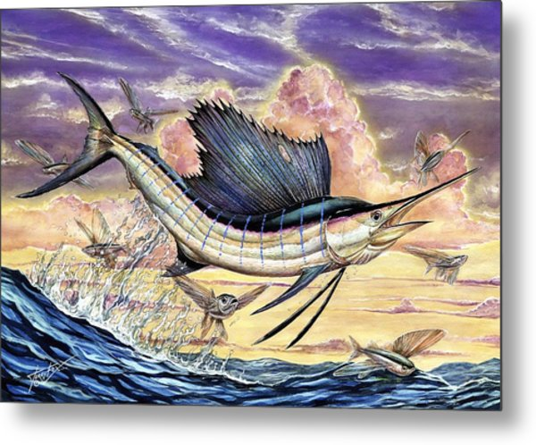Sailfish And Flying Fish In The Sunset Metal Print