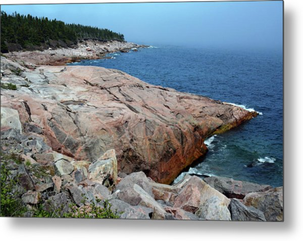 Scenic View Of Exposed Bedrock Metal Print