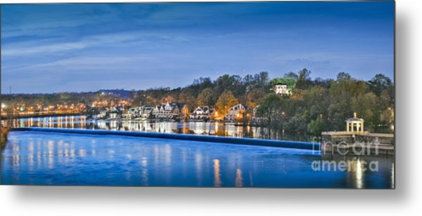 Schuylkill River  Boathouse Row Lit At Night  Metal Print