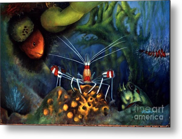 Metal Print featuring the painting Sea Shrimp by Lynn Buettner