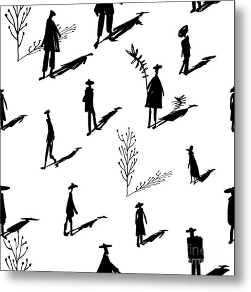 Seamless Pattern Of Trees And People Metal Print