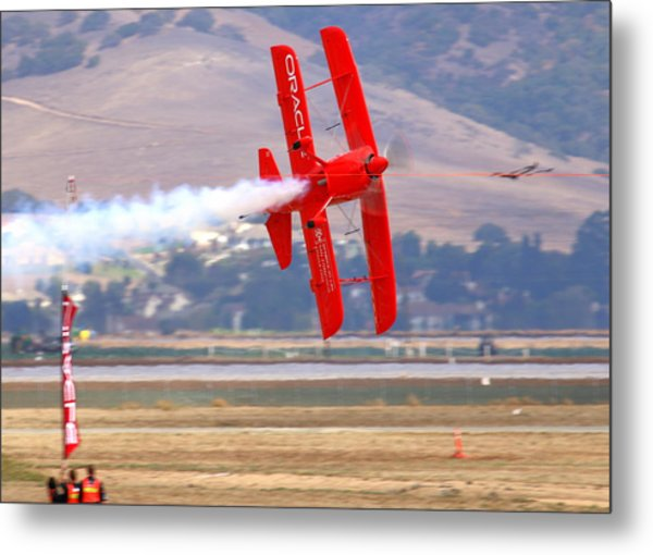 Sean Tucker Cuts The Ribbon In His Oracle Challenger At Salinas Ksns Airshow Metal Print by John King