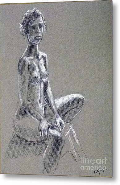 Seated Female Model Metal Print