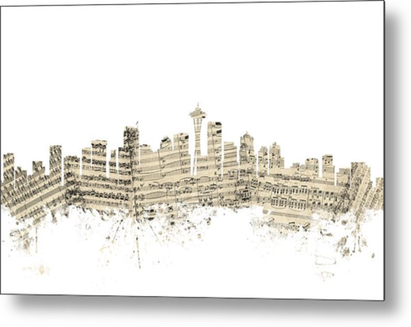 Seattle Washington Skyline Sheet Music Cityscape Metal Print
