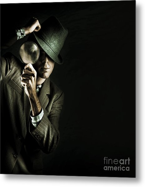 Security Detective With Magnifying Glass Metal Print