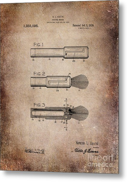 Shaving Brush Diagram 1920  Metal Print