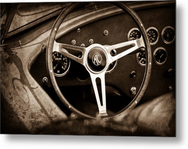 Shelby Ac Cobra Steering Wheel Emblem Metal Print