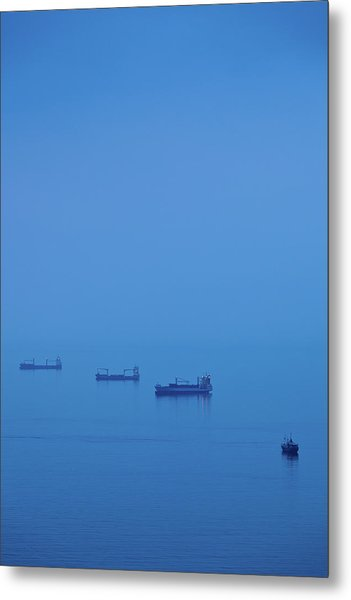 Ships In The Sea, Malaga, Andalusia Metal Print