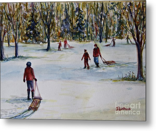 Sledding Metal Print by Joyce A Guariglia