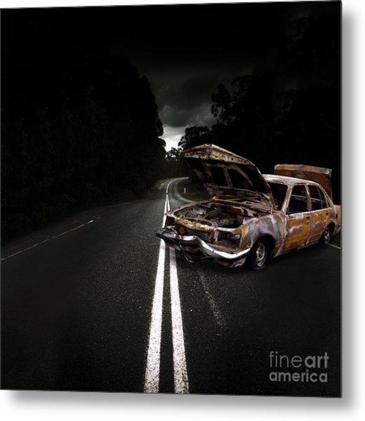 Smashed Up Car Wreck Metal Print