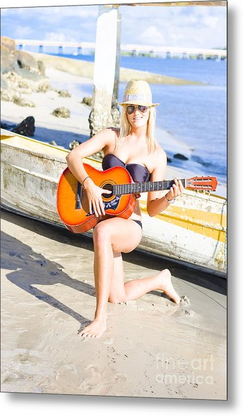 Smiling Girl Strumming Guitar At Tropical Beach Metal Print