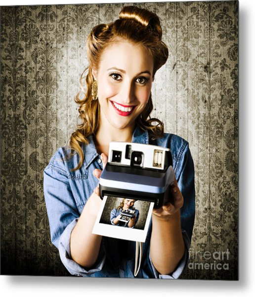 Smiling Young Vintage Girl Taking Polaroid Photo Metal Print