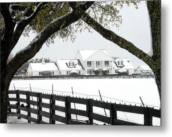 Southfork Ranch In Winter Metal Print