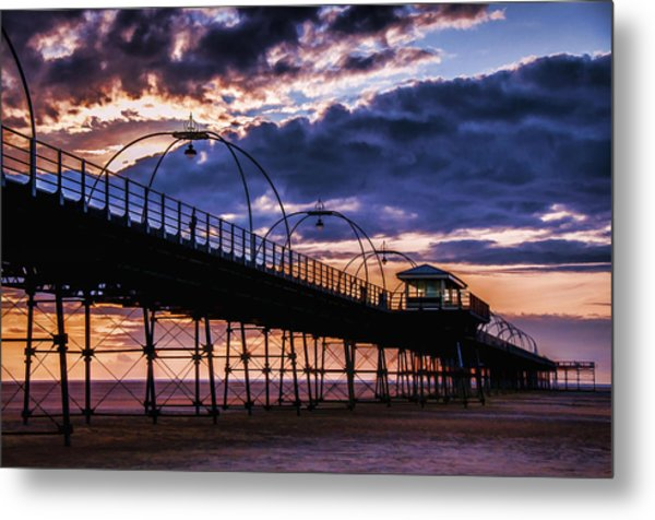 Southport Pier At Sunset Metal Print