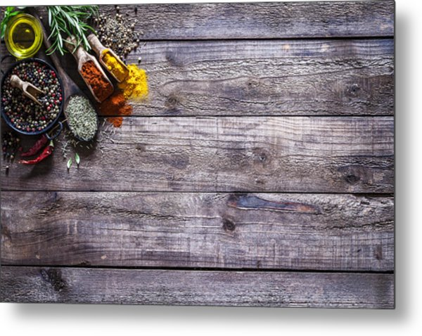 Spices And Herbs On Rustic Wood Kitchen Table Metal Print by Fcafotodigital
