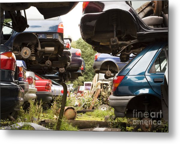 Stacked Cars Metal Print