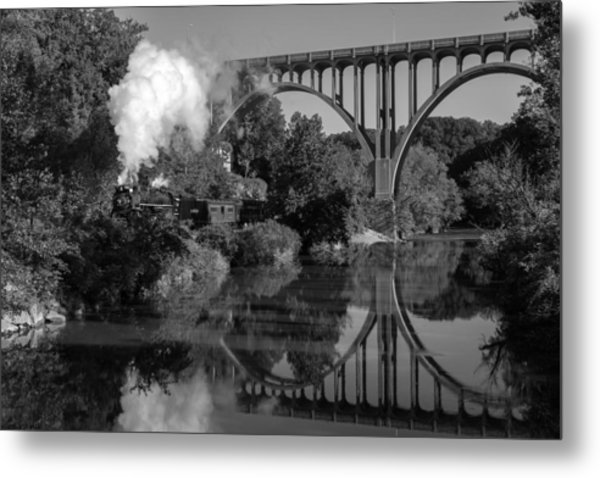Steam In The Valley Nkp 765 Black And White Metal Print