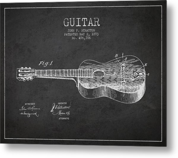 Stratton Guitar Patent Drawing From 1893 Metal Print