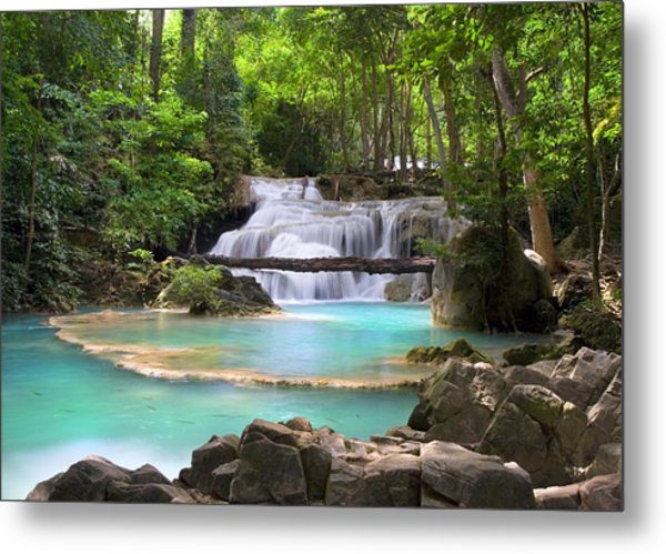 Stream With Waterfall In Tropical Forest Metal Print