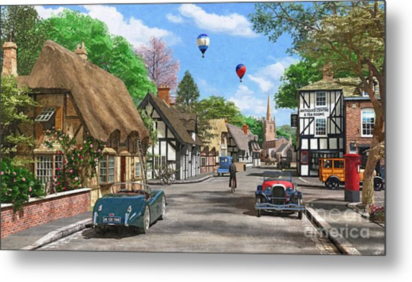 Street Cottage Lane Metal Print