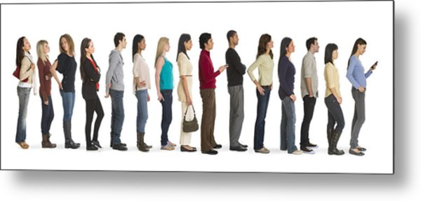 Studio Shot Of People Waiting In Line Metal Print by Tetra Images