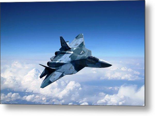 Sukhoi T 50 Stealth Fighter Metal Print