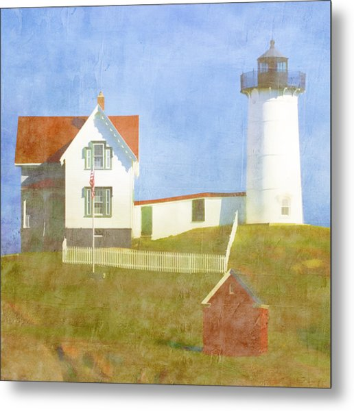 Sunny Day At Nubble Lighthouse Metal Print