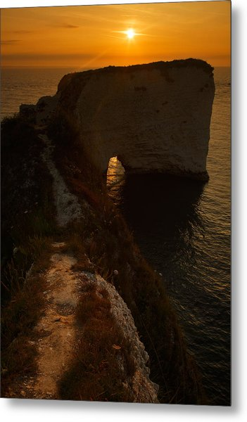 Sunrise At Old Harry Rocks Metal Print