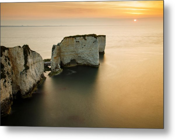 Sunrise Old Harry Rocks Metal Print