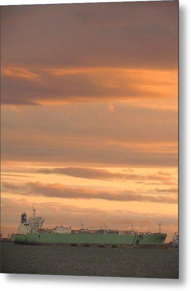 Sunrise Over Ship Metal Print
