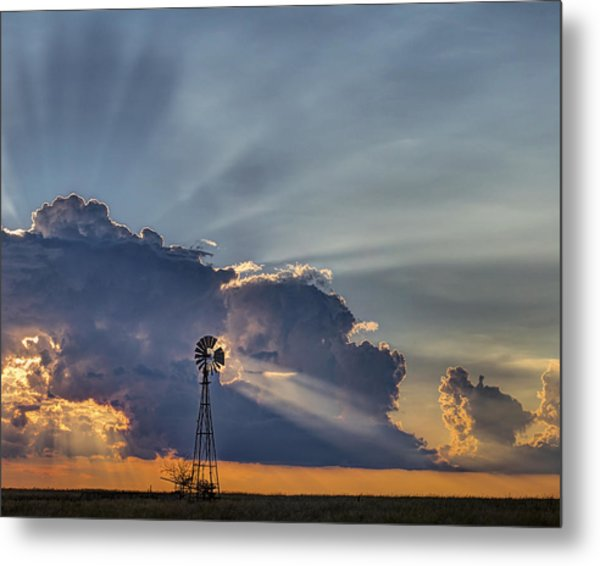 Sunset And Windmill Metal Print