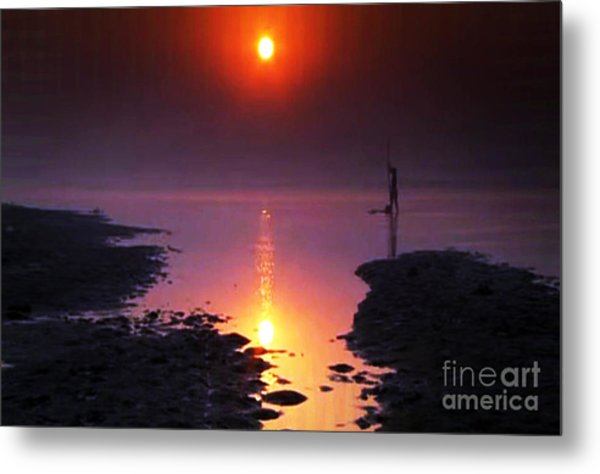 Sunset At Ganga River In The Planes Of Provinces Metal Print